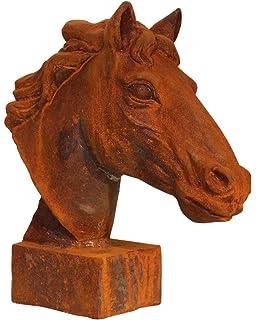 Pferdekopf für Pfosten Garten und Mauer-Dekoration Pferd Pferdeköpfe Zaunpfahl