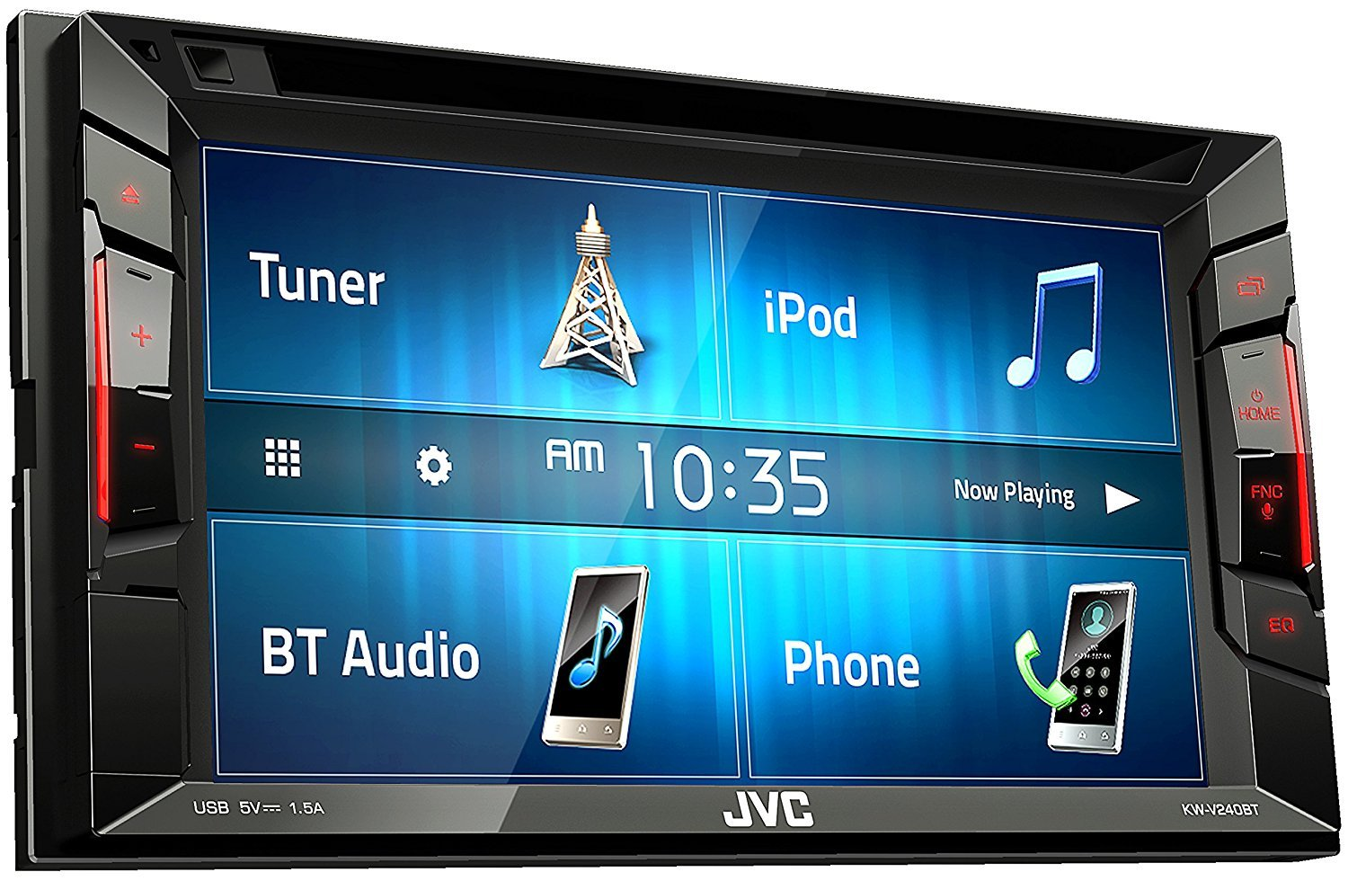 "JVC Multimedia Receiver w/ WVGA Clear Resistive Touch Monitor, 6.2"" (KW-V240BT)"