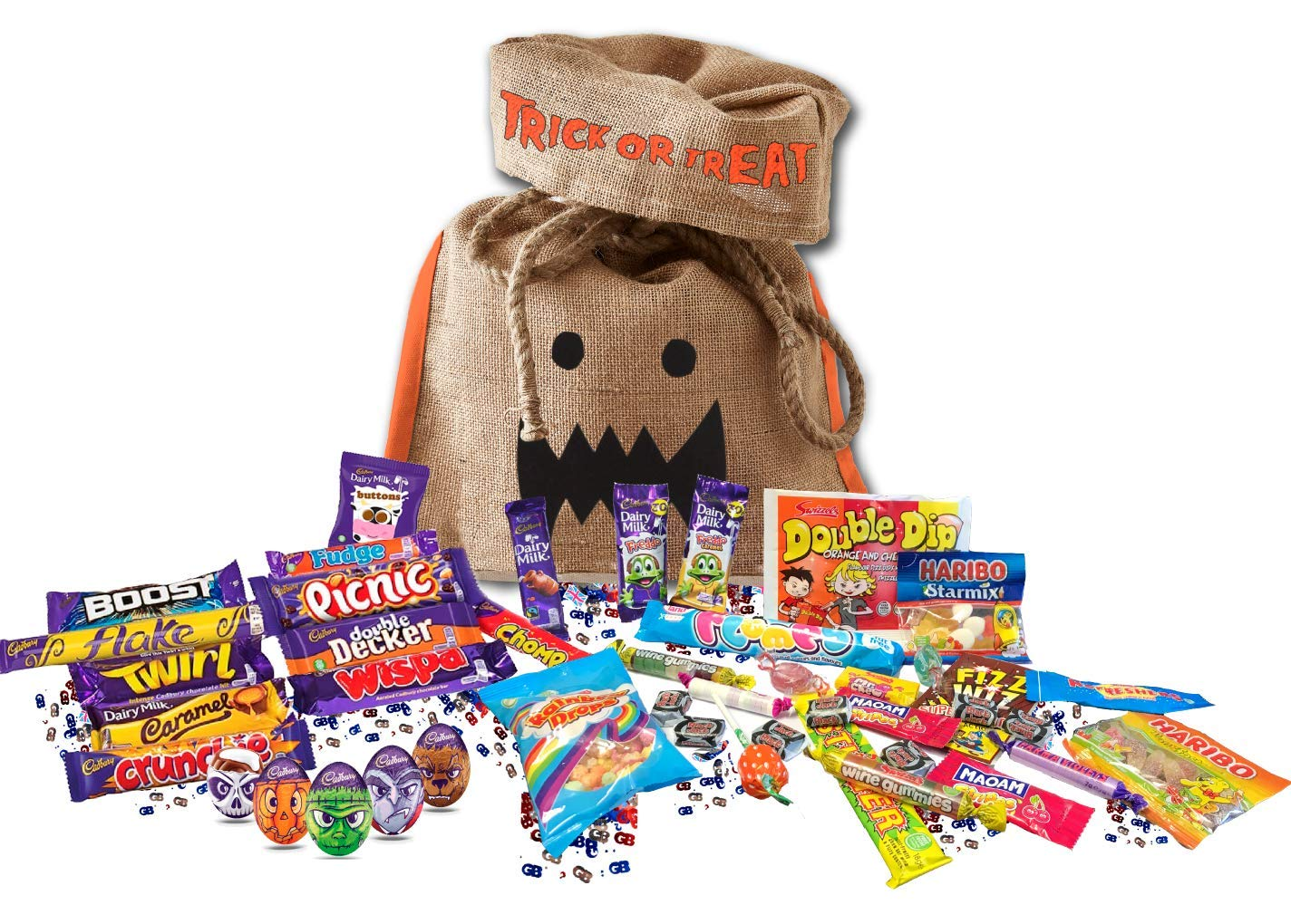 British Halloween Trick Or Treat Candy Bag | 5 Cadbury Goo Heads Halloween Creme Eggs, 15 Cadbury's chocolate bars & 8.8 oz English Retro Candy Mix Assortment Cadbury Variety