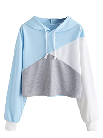 ab45a33fdf40d Romwe Women s Color Block Cut and Sew Panel Crop Hoodie Sweatshirt  Blue Improved S