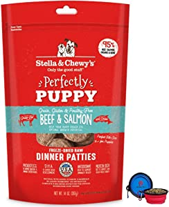 Stella & Chewy's Freeze Dried Dog Food Patties,Snacks Perfectly Puppy 14 Oz Bag with Hotspot Pets Food Bowl - Made in USA