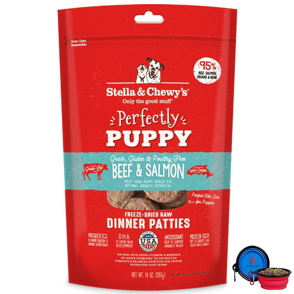 Stella & Chewy's Freeze Dried Dog Food Patties,Snacks Perfectly Puppy 14 Oz Bag With HotSpot Pets Food Bowl - Made in USA (Beef & Salmon) by Stella & Chewy's