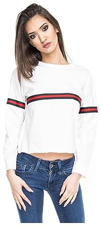 22e500fd7347 Crop Sweater Cropped Top Damen Stripes Sweatshirt bauchfrei Streifen  Oberteil Logo Weiß M L