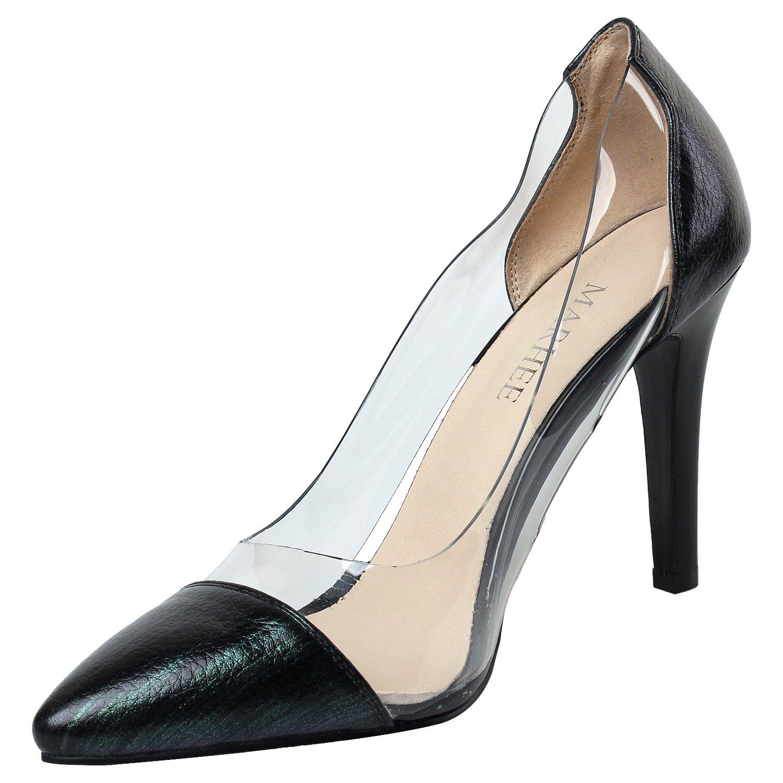 MARHEE M-003 - Zapatos de Vestir de Otra Piel para Mujer 37 1/3 EU|Negro/Verde