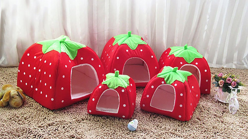 Daycount® Warm Soft Majestic Foldable Dog Cat Tent Bed Animal Cave Puppy Cute Pet Cat House 5 Sizes (Large, Strawberry) by Daycount® (Image #3)