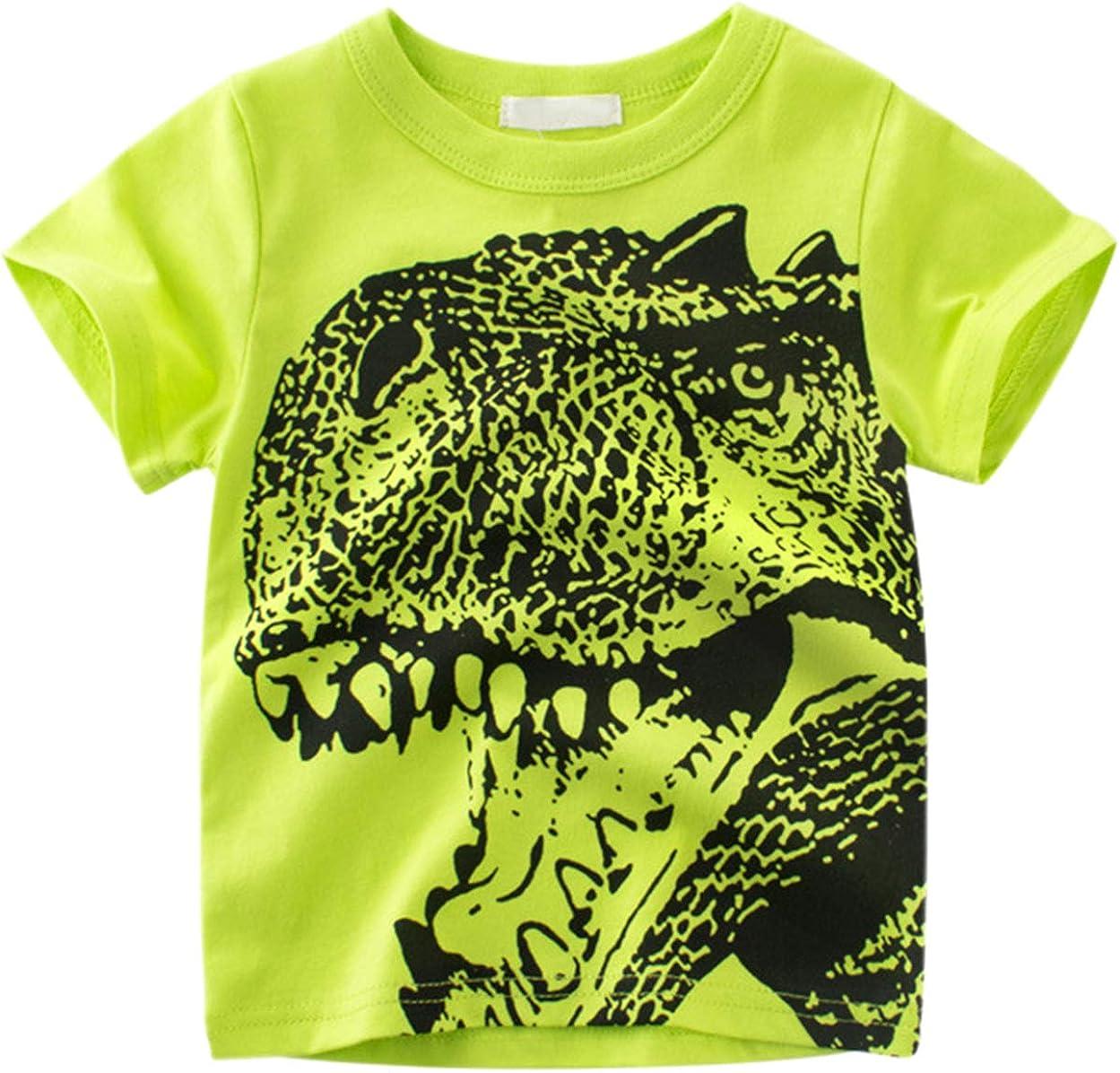 Betusline Kids Boys Short Sleeve T-Shirts Dinosaur Print Tee