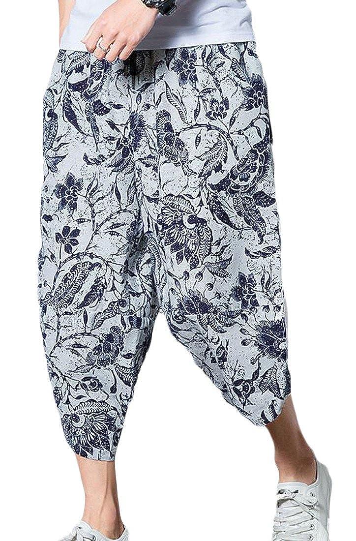 GloryA Mens Baggy Chinese Style Big and Tall Summer Cotton Linen Capri Pants