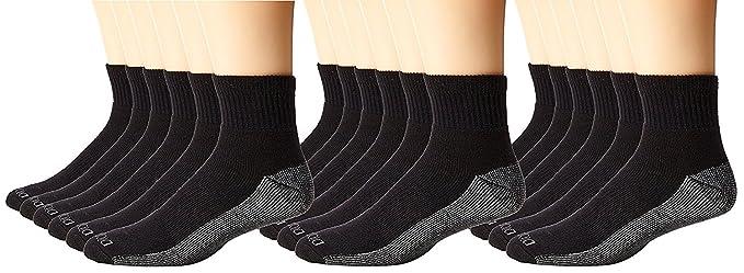 73709ca3a Dickies Men's 6 Pack Dri-Tech Comfort Quarter Socks, Black, 18 Pair ...