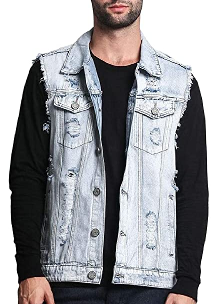 cf5b6b307a2 Smeiling Men Classic Distressed Denim Jacket Loose Ripped Jean Vest at  Amazon Men's Clothing store:
