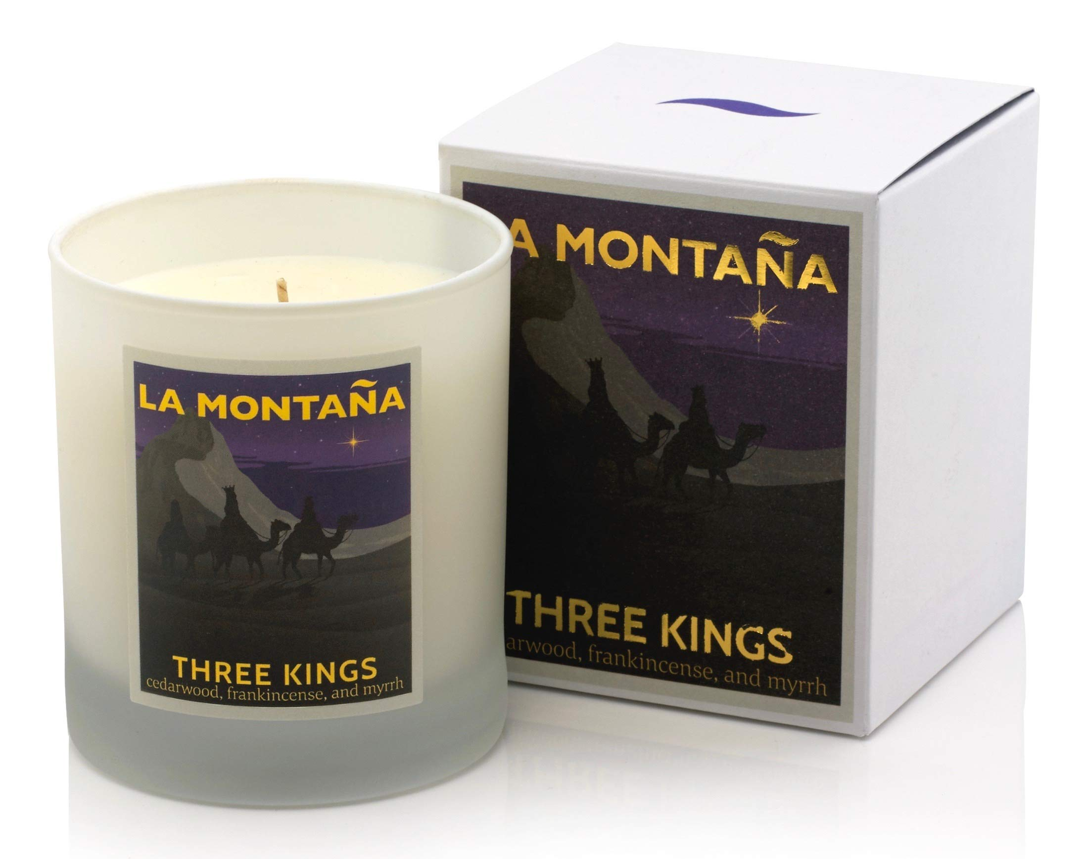 Three Kings' Luxury Scented Candle. Warm, Rich, and Magnificently Spanish - with Notes of Cedarwood, Pine, Frankincense, Myrrh, Nougat and Brandy. 220gm - 40 Hours' Burn Time.