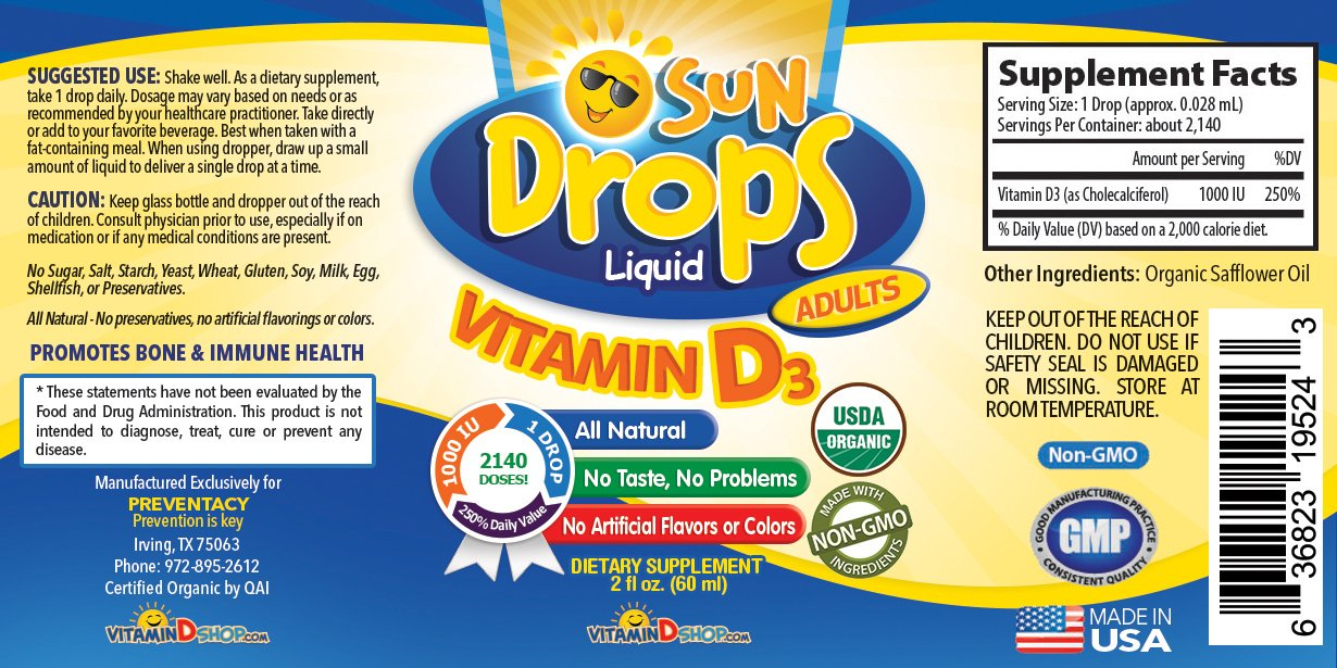 Amazon.com: Vitamin D Drops Adult - 1000 IU=1 drop - Organic, Non-GMO, Gluten-free, all Natural - Easy Concentration for Adults - 60 mL (2 fl oz)=over ...