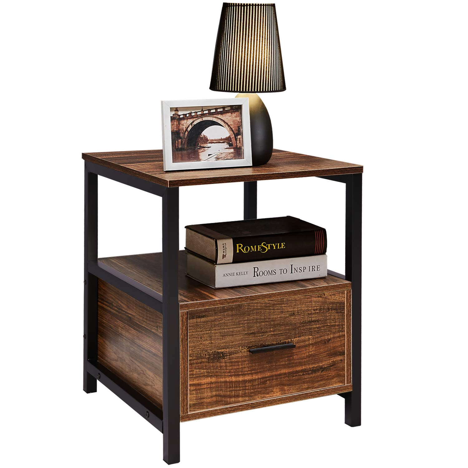 VECELO Modern Rectangular Wood Nightstand Side/End/Coffee/Accent Table, Cabinet with Drawer for Storage, Brown by VECELO