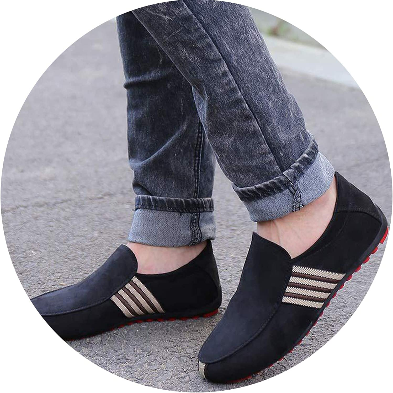 2019 New Spring Men Suede Leather Loafers Driving Shoes Moccasins Summer Fashion Mens Casual Shoes Flat Breathable Lazy Flats,Fabric Black,8,Spain
