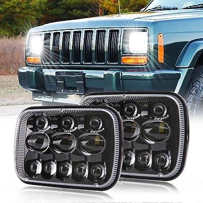 DOT Rectangular 5x7 7x6 Inch Led Headlights with High Low Beam H6054 6054 Led Headlight for Jeep Wrangler YJ Cherokee XJ Comanche MJ GMC Savana Toyota Replacement H5054 H6054LL 69822 6052 6053 (2 PCS): Automotive