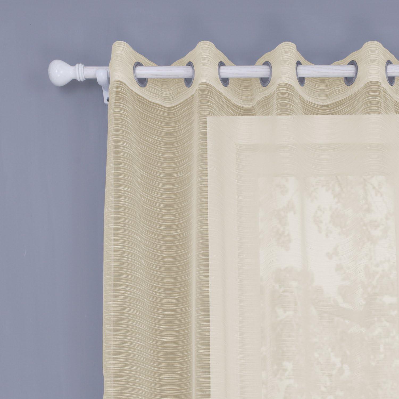 koyiscloth 2 Panneaux Motifs g/éom/étriques Oeillet Fen/être Voile Net Rideaux pour Salon Oeillets 140x160cm 55X63 Pouces
