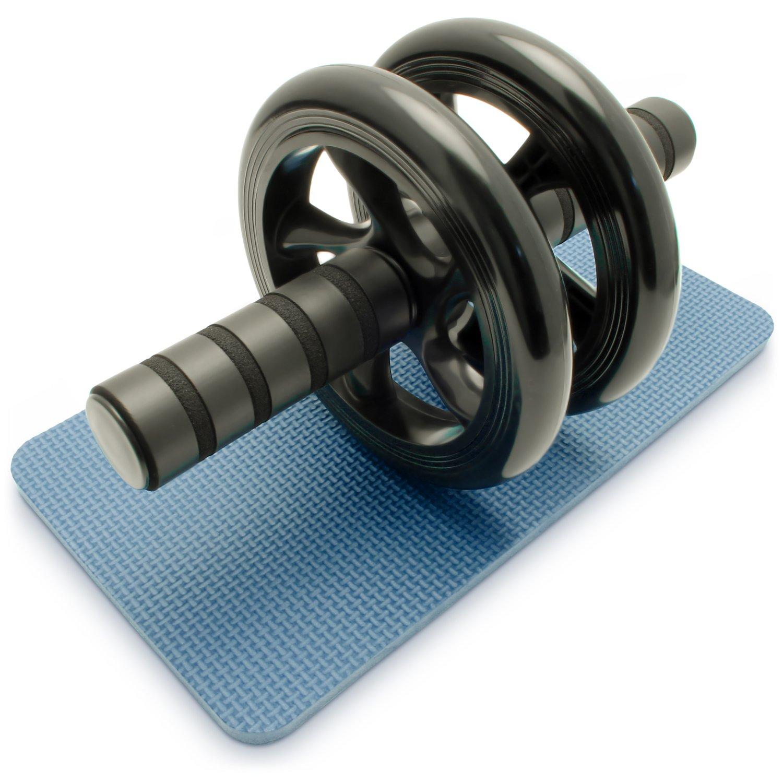 CampTeck AB Roller Doble Rueda Abdominal con Arrodillamiento y Manijas de Espuma - Perfecto para Fitness