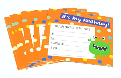 16x Boys Birthday Party Invitation Card With Envelope Design