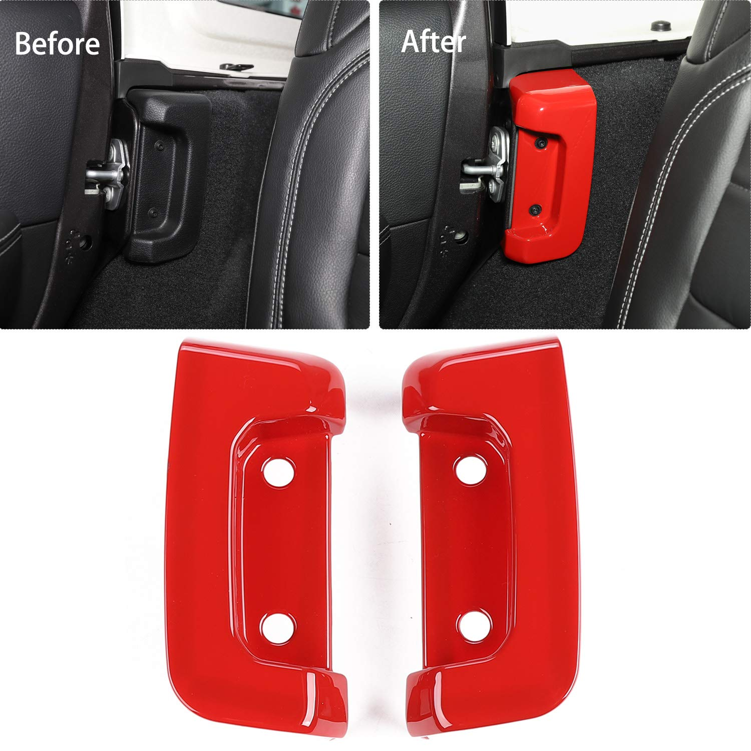 RT-TCZ Rear Gate Lock Cover Interior Decoration Protection Buckle Trim Cover Sticker for 2018-2019 Jeep Wrangler JL//JLU