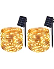 [2 Pack] BOLWEO Solar Powered String Lights,Solar Fairy Lights,10 Meters/ 33Ft 100LEDS / 8 Modes,Waterproof Copper Wire Lighting for Indoor,Outdoor,Wedding,Patio,Home,Garden Decoration (Warm White)