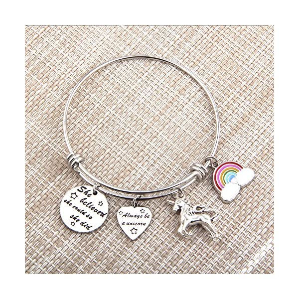 PLITI She Believed She Could So She Did Bracelet Always Be A Unicorn Charm Cuff Bangle Inspirational Jewelry Gift 7