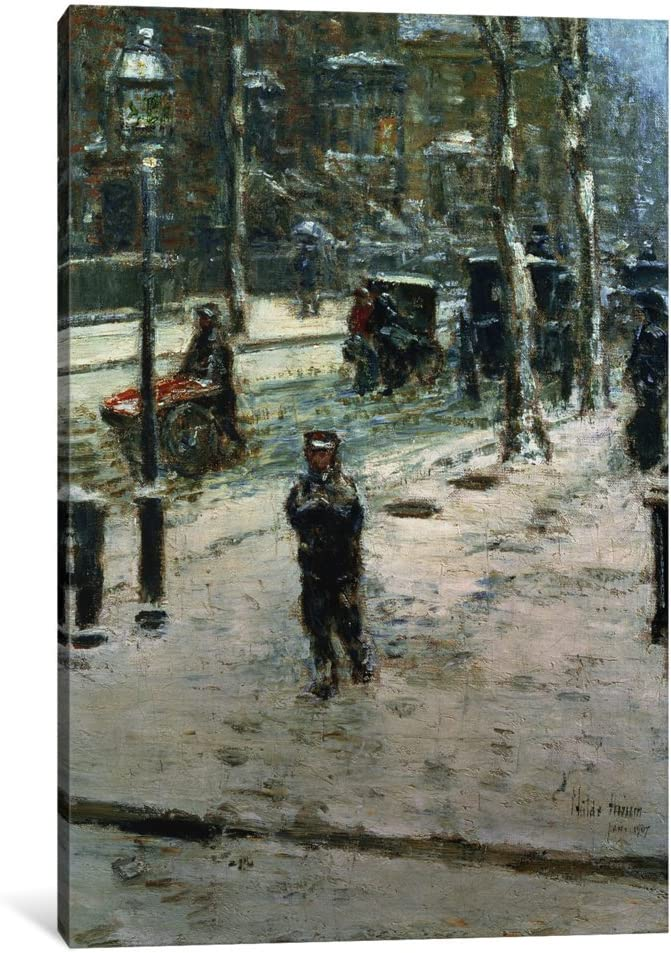 Fifth Avenue in Winter by Childe Hassam Giclee Fine ArtPrint Repro on Canvas