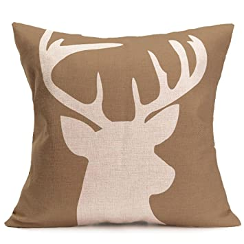 cukudy decors square decorative throw pillow case cushion cover rustic deer buck burlap throw pillows 18