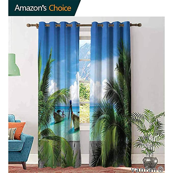 Amazon Com Big Datastore Tropical Decor Bedroom Curtains 2 Panel Setsbeach And Tropical Sea Wooden Deck Floating Boats Sunshine Honeypot For Bedroom Nursery Living Room W84 X L96 Home Kitchen
