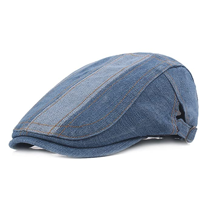 b395be6b1cc Image Unavailable. Image not available for. Color  Denim Newsboy Flat Cap  Gatsby Cap Ivy Irish Cabbie Driver Hunting Hat (Light Blue)