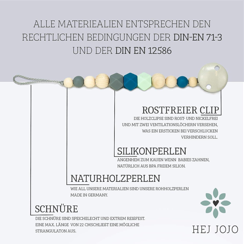 100/% hecho a mano en Alemania blanco estilo escandinavo gris Cadena para chupete de Hej Jojo de madera de silicona para beb/és dise/ño escandinavo Jakob en azul
