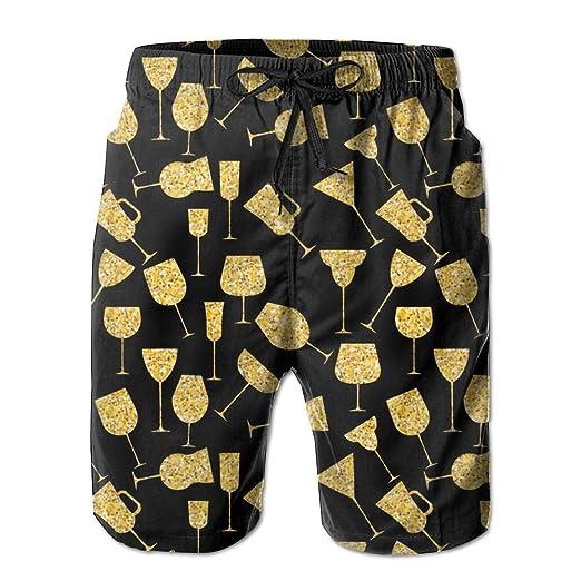 e3a3f33a800bc Yausend Mens Martini Glass Gold Breathable Beach Board Shorts Swim Trunks  Quick Dry | Amazon.com