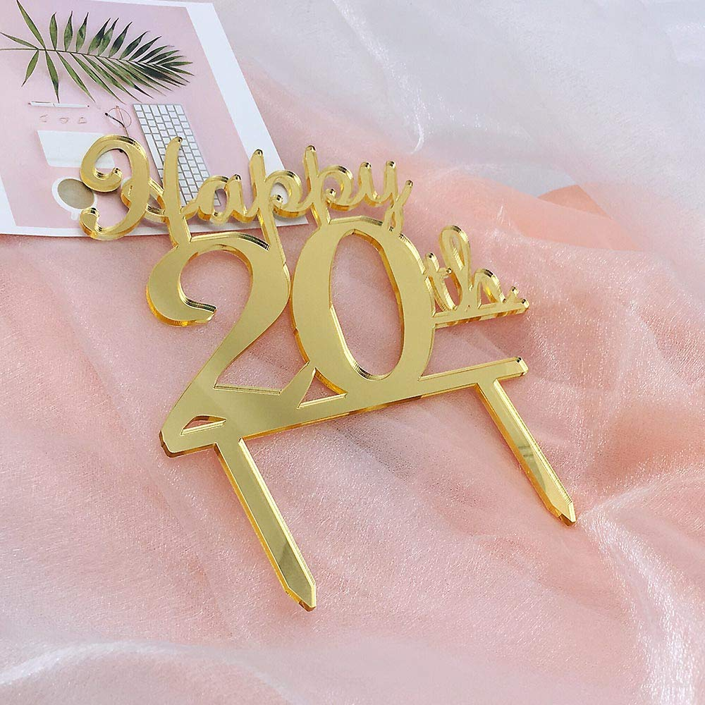 Golden 20th Birthday Cake Topper20th Party Decoration20th Acrylic TopperCellebration
