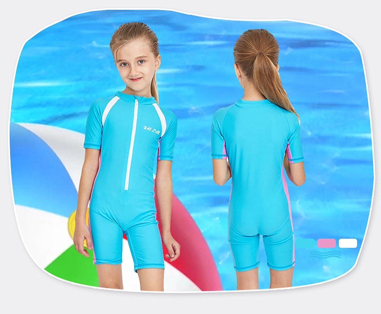 HaoLian Boys Girls Kid Swimsuit One Piece Rashguard Short Sleeve Swimwear UPF50+