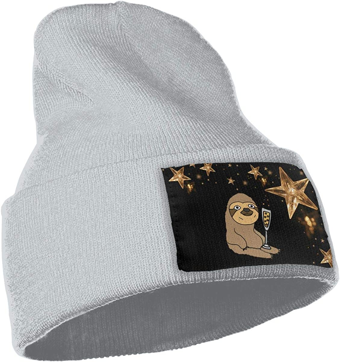 COLLJL-8 Men /& Women Sloth Drinking Champagne Outdoor Stretch Knit Beanies Hat Soft Winter Skull Caps