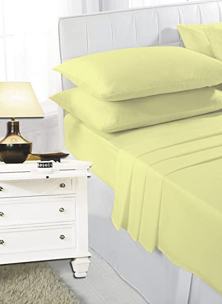PLAIN DYED POLYCOTTON PERCALE BED LINEN FITTED SHEETS DOUBLE SIZE LEMON