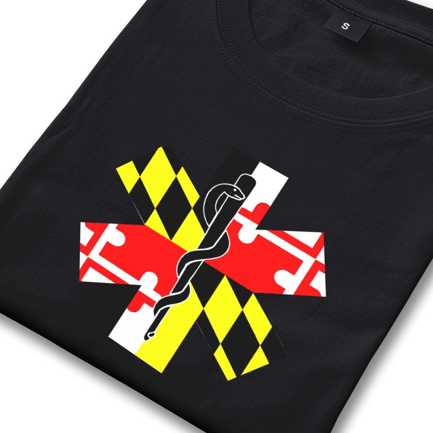 T-Shirt Men Crew Neck Short-Sleeve Maryland State Shaped Flag Tee Graphic Cotton Shirts Arts Tops