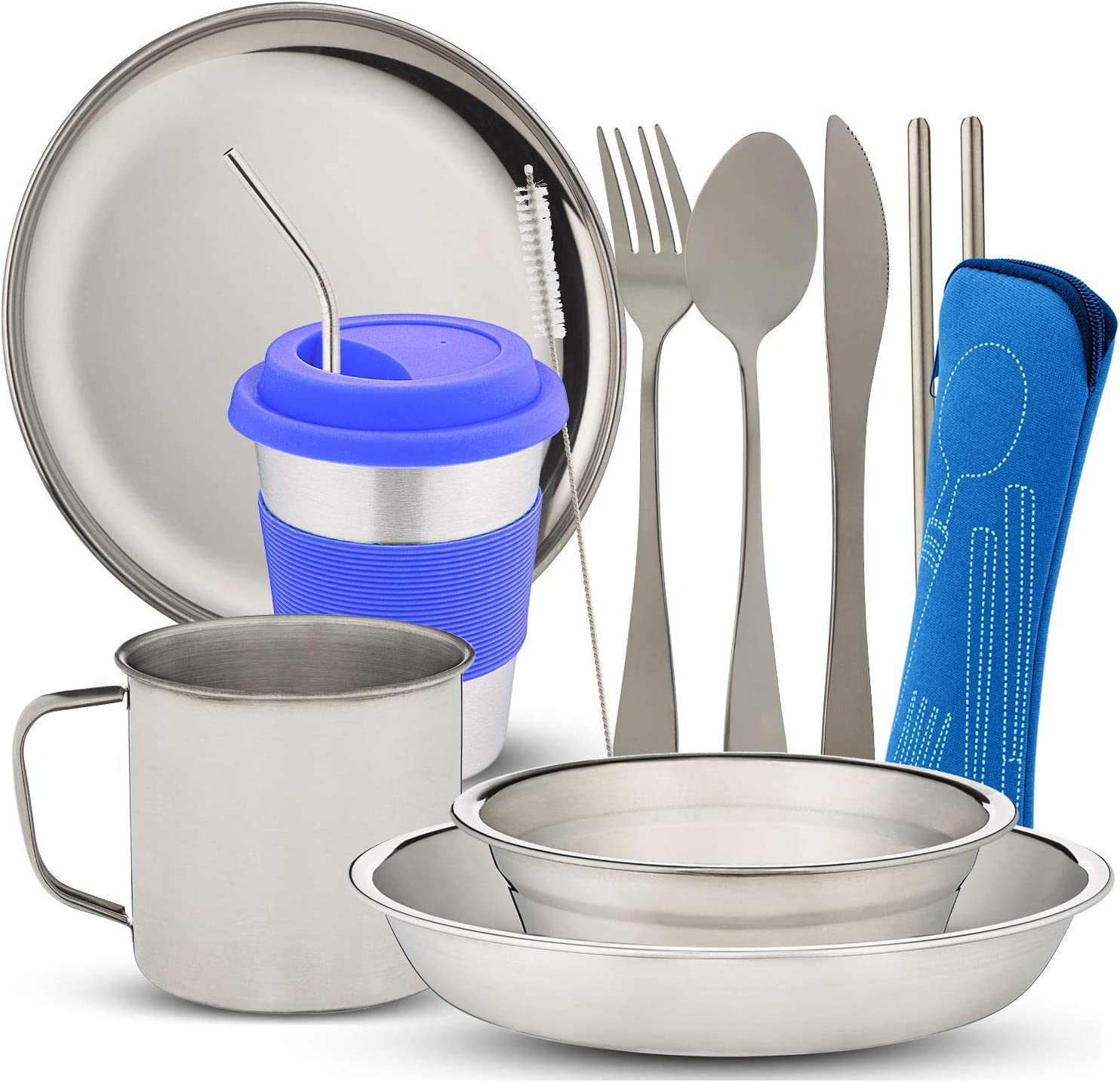 10-Piece Camping Dish Set Complete Camping Dinnerware Set with Cup with Zipper Cutlery Bag Backpacking Hiking and Cutlery Bowl Stainless Steel Camp Mess Kit with Mesh Bag for Camping Plate