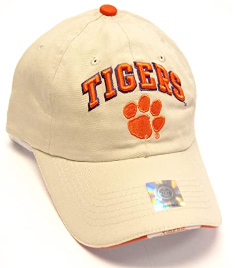 3dc9e4f9441 Image Unavailable. Image not available for. Color  HMI Headwear Clemson  Tigers NCAA Khaki Tan Relaxed Slouch Hat Cap Paw Logo Adult Men s Adjustable