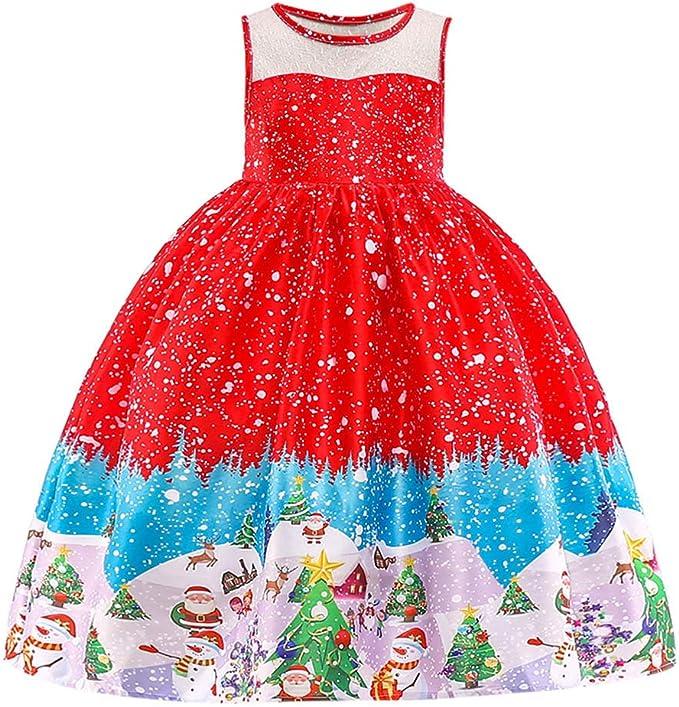 Vestiti Cerimonia Bimba 7 Anni.Sumtter Vestiti Natale Bimba Babbo Stampato Abito Bambina