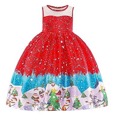 8ef134fa2b4 ❤️Fille Noël Robes PANPANY Bébés Filles Père Noël Imprimé Robe De Princesse  Tenues De Noël Vêtements Robe de Princesse sans Manches de Noël pour  1-7Ans  ...