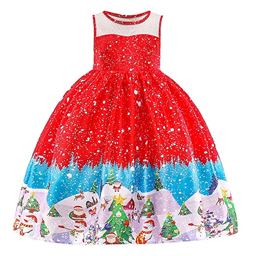 a206f5aaa96d ZOMUSAR Little Baby Girl Dress Santa Print Christmas Party Wedding Pageant  Princess Dresses Red