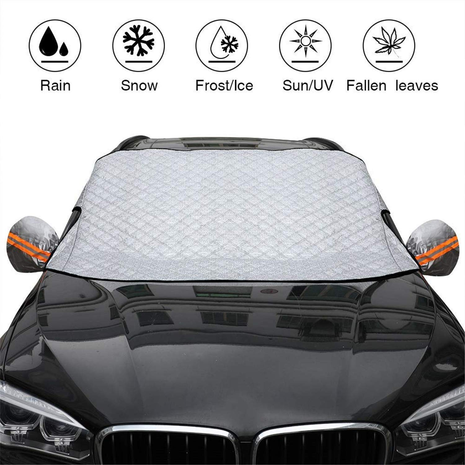 Car Windshield Snow Cover & Sun Shade Protector, HelpAccess Car Sun Shade Visor Shield Cover UV Protector, 57.87 Inch (width) X 40.16 Inch(height). 48 months warranty! HelpAccess Germany