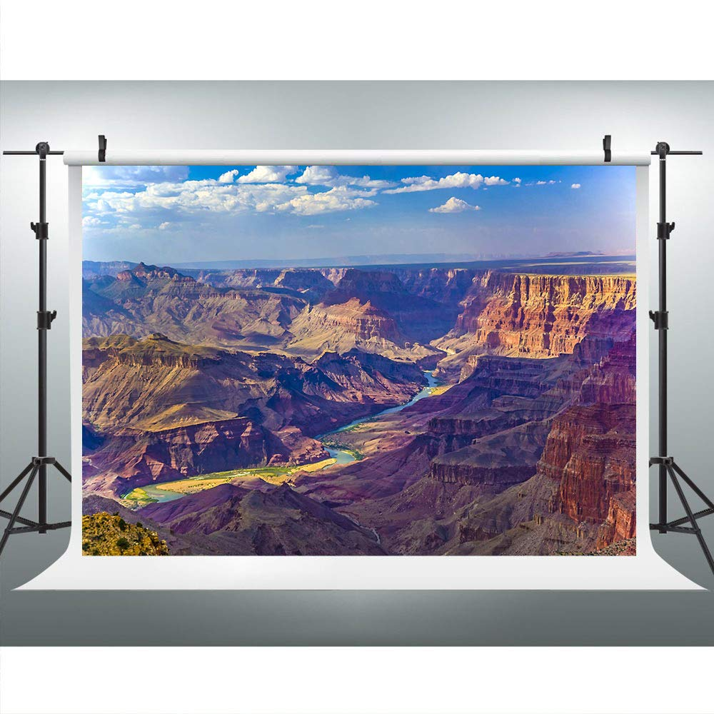 Aerial View of Epic Grand Canyon Photography Backdrop, 7x5FT, Travel Outdoor River Stream Rock Plateau Background, Photo Booth Studio Props LYLU448