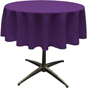 "LA Linen Polyester Poplin Round Tablecloth, 58"", Purple"