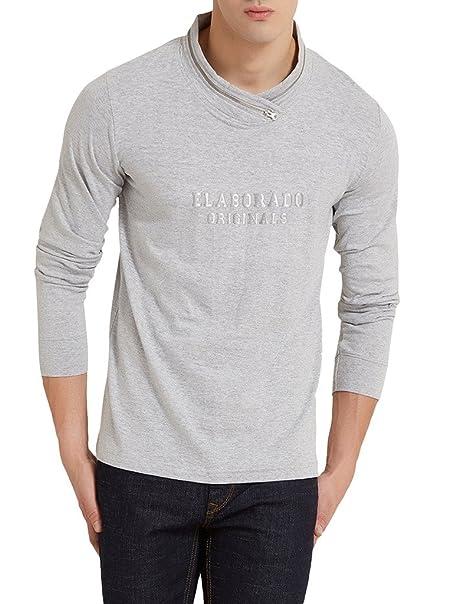 040e62c2b79 Elaborado Men s Plain Slim fit T-Shirt (EWFS1072GM1 Grey Melange Small)