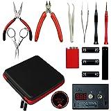 Master 6 in 1 DIY tragbar Coil Jig Tool Kit mit Ohm Meter, Gewundenen Tools Set mit Keramik Pinzette & Vise für RDA