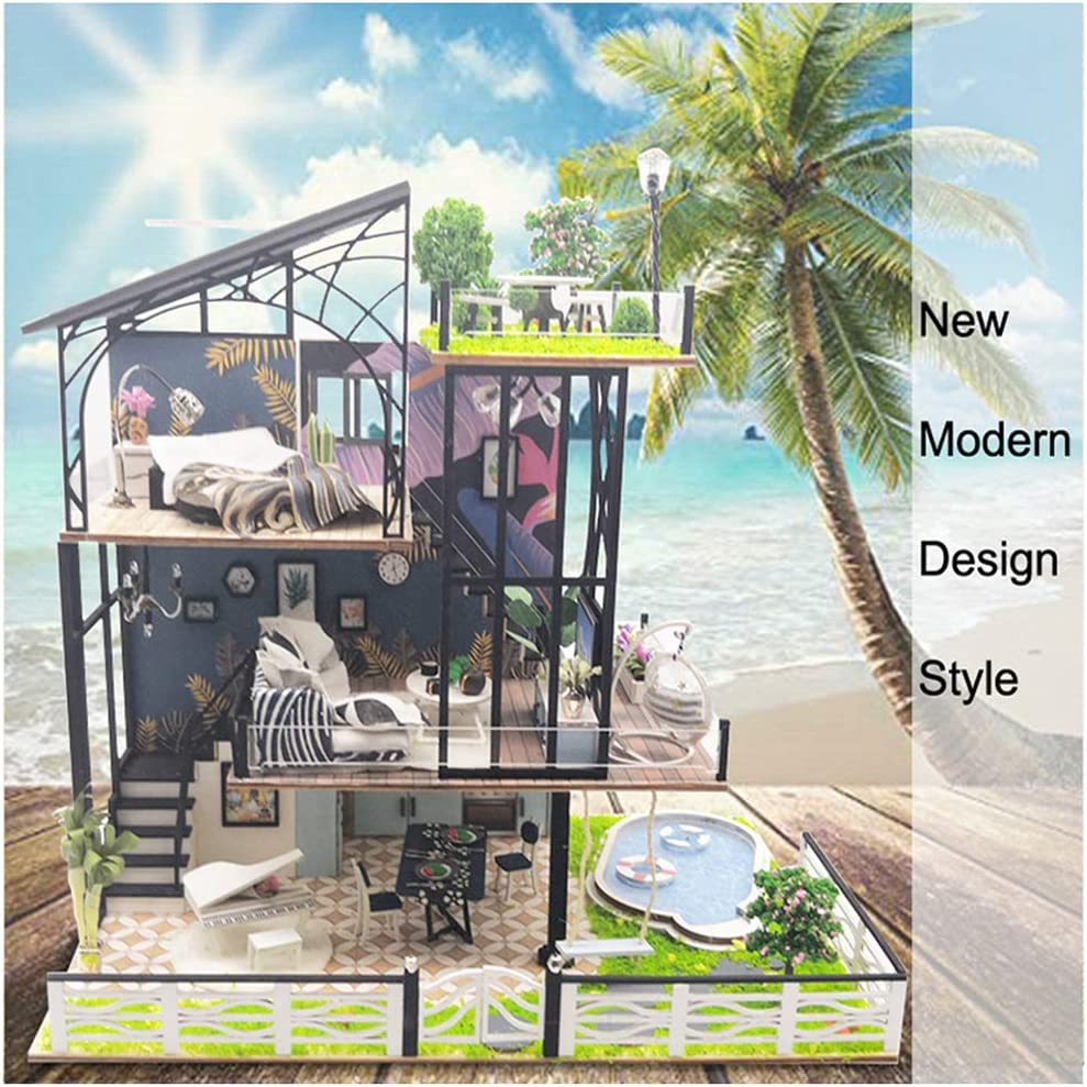 DIY Mini Dollhouse Miniature Handcraft 3D Wooden Villa Kit with Furniture LED Light Puzzle Building Toys Gift Exquisite Collectibles No Glue Battery