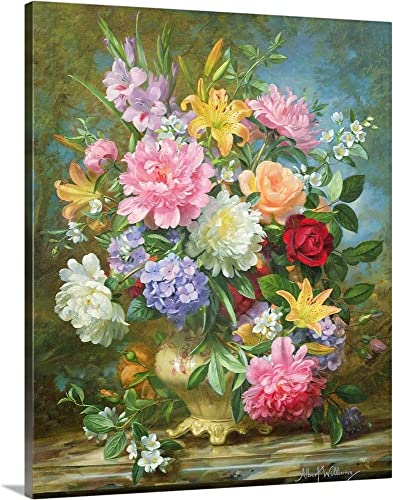 Peonies and Mixed Flowers Canvas Wall Art Print