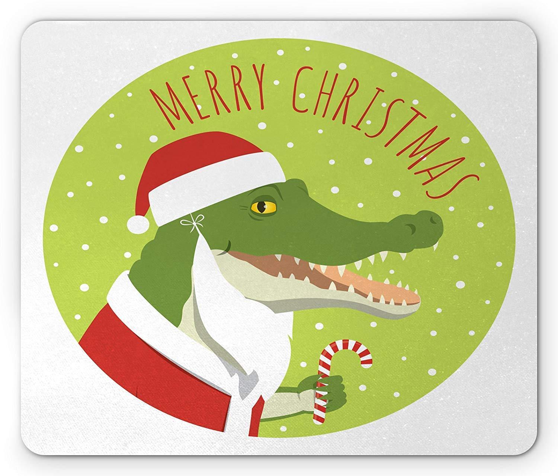 Alligator Mouse Pad, Smiling Crocodile in a Santa Claus Costume ...