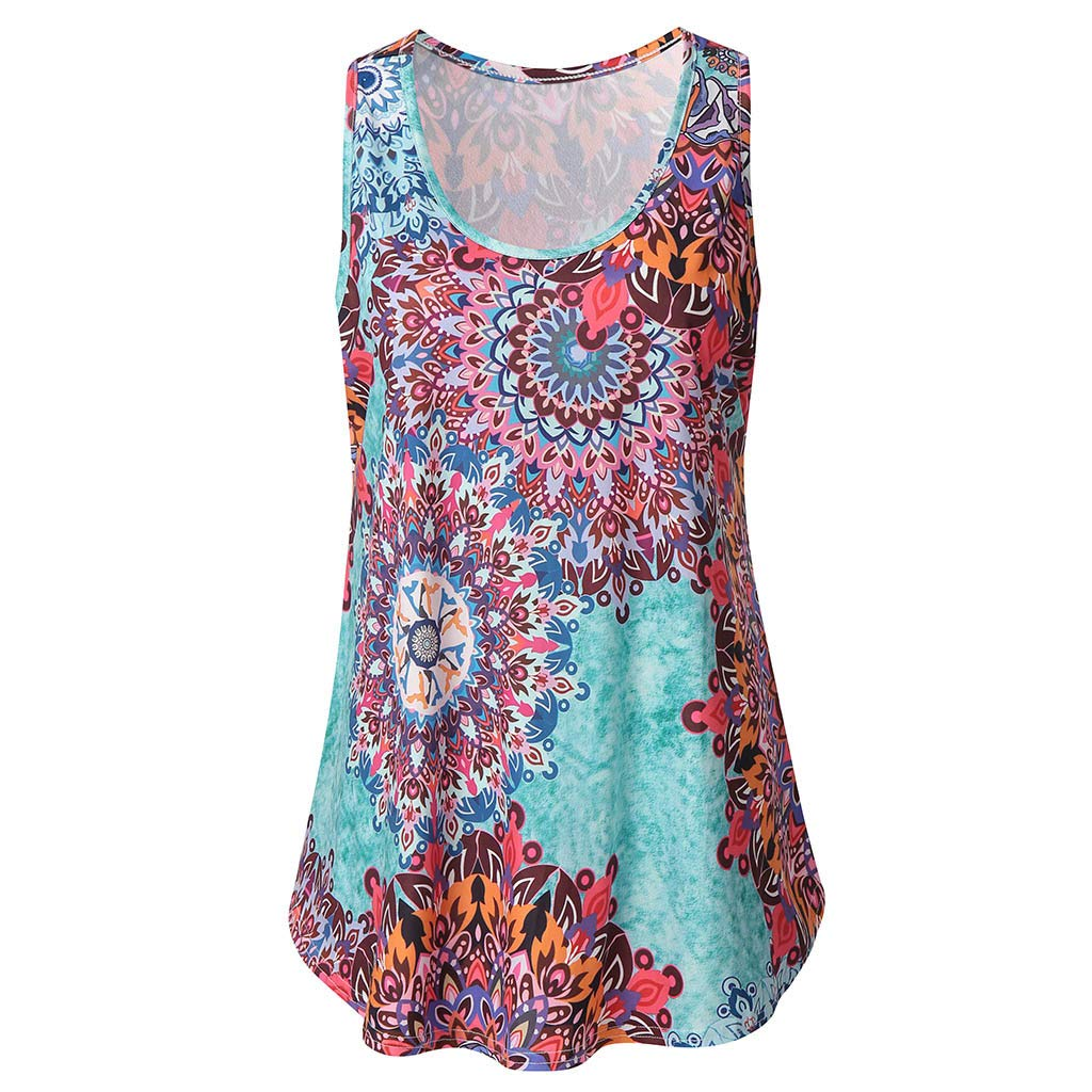 Camiseta para Mujer Yesmile Blusa Estampado Vintage de Mujer Camisa Holgada sin Tirantes Camiseta Elegante Tank Tops Sin Mangas Mujer Fiesta Vestir Ropa