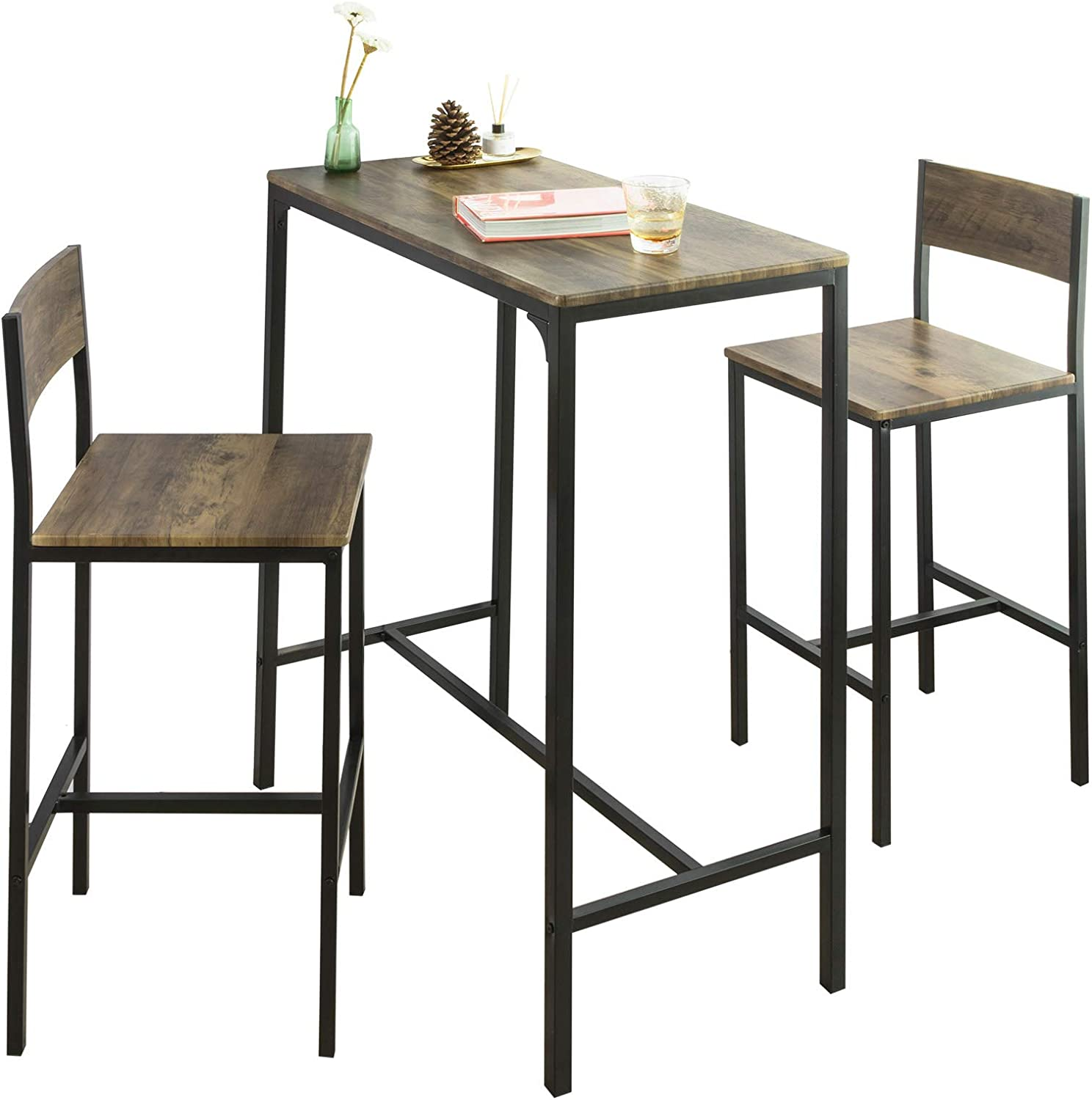 SoBuy OGT9 XL Bar Table Set 9 Piece Dining Table Bistro Table Balcony  Furniture Bistro Furniture